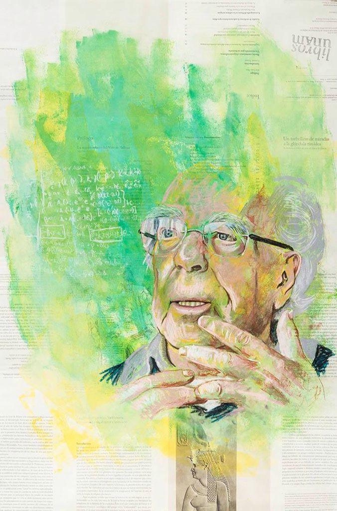 #Retrato de Luis de la Peña por Laura Espinosa Torres. Pastel y gouache sobre papel. Mención #AutoresUNAM #UNAM