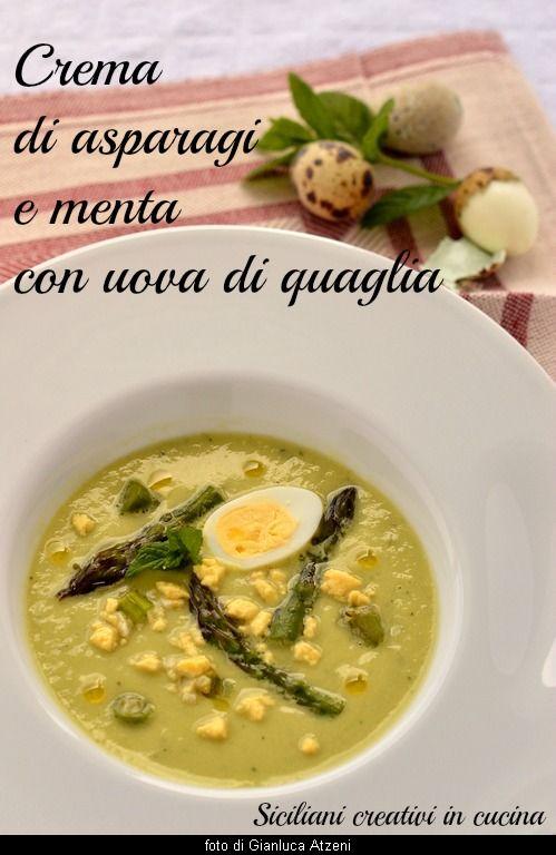 Crema di asparagi e uova di quaglia