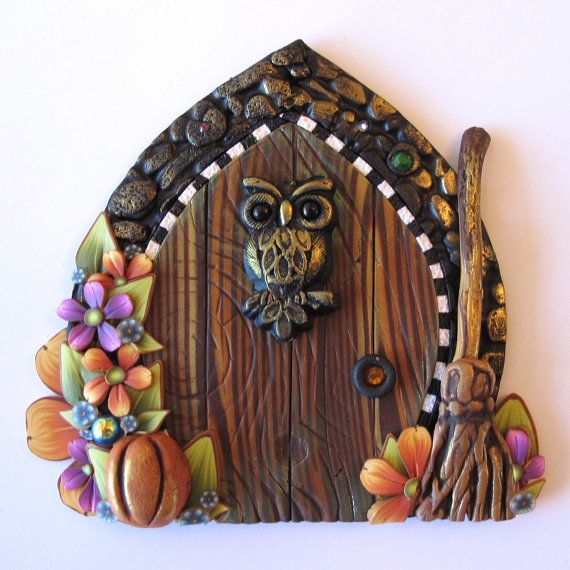 Harvest Owl Fairy Door Pixie Portal Miniature Door by Claybykim