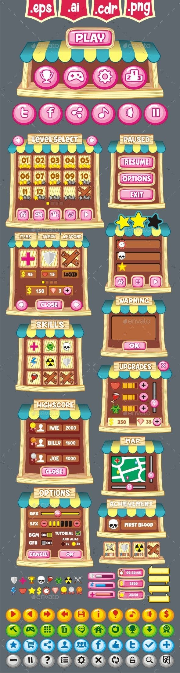 cartoon game gui pack 28 (User Interfaces)