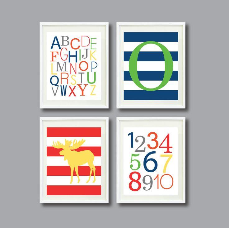 Nursery Art Print Set of Four 8x10Moose by GatheredNestDesigns, $52.00