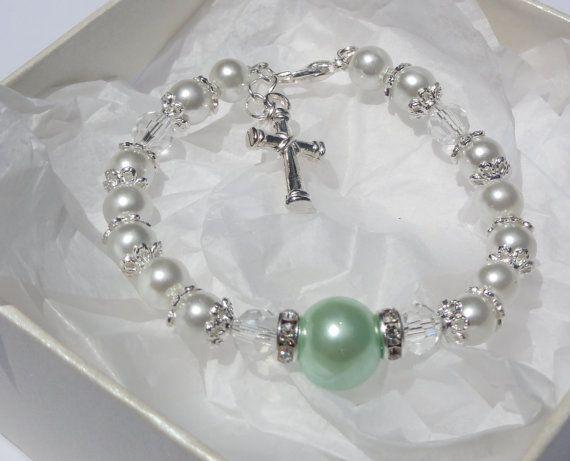 Baby Christening Baptism Bracelet Communion by StunningGemsJewelry