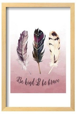 Art.com Be Kind and Be Brave Pink by Tara Moss Framed Poster