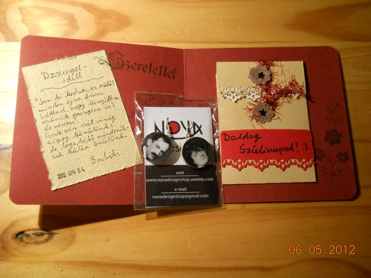 Birthday card inside.  My girlfriend's favorite poets (Mihály Babits) and poems about her earrings and her wife.