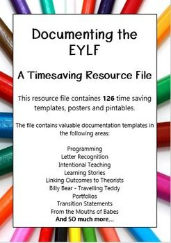 This resource file contains over 126 valuable time saving templates, posters and printables to make documenting your childrens learning easy.