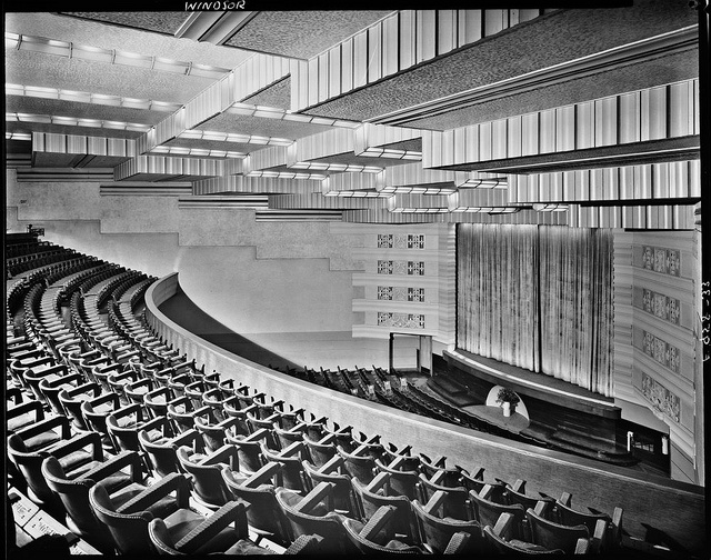 Hoyts Windsor Theatre, Prahran View from balcony down to curtained screen, showing seating, stage and ceiling.