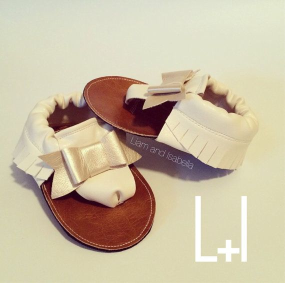 Bow Sandal Moccasins ANY color Vegan Leather by LiamandIsabella