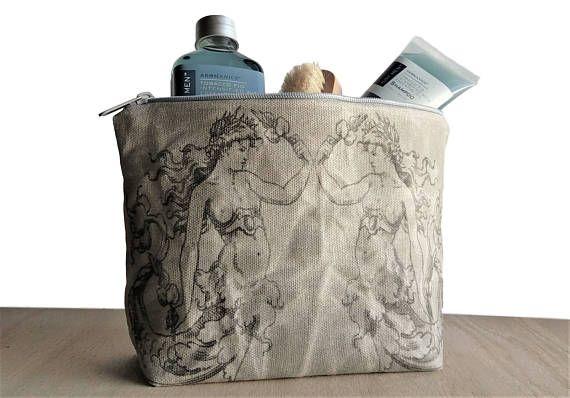 mermaid waxed canvas clutch makeup bag dopp kit first aid kit