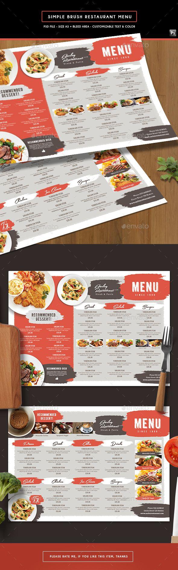 Simple Brush Restaurant Menu Board Template PSD