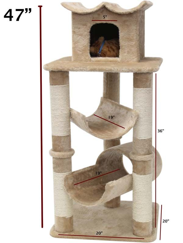 47 Inch Casita Cat Gym - CrazyCatCondos.com - Cat Furniture Purrfect for kittys , Cat Condos ,Cat Gyms For Cat Climbing Kitty Napping Cat Lounging For all Cats and kittens