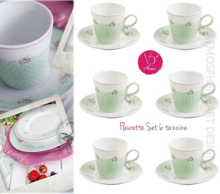 OFFERTA SPECIALE! VILLA D'ESTE Set 6 tazzine da caffè con piattino Fleurette