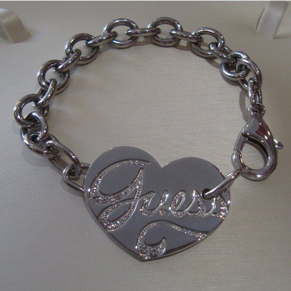 Guess Steel Bracciale a catena con cuore USB80905 GioielliVarlotta