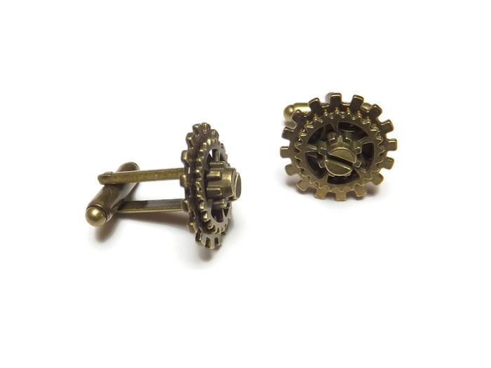 """Boutons de manchette steampunk bronze engrenage, """"Mécanique de chemise"""""""