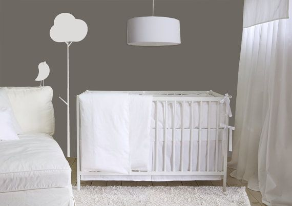 Pure white Crib Bumper - Italian piping and ties