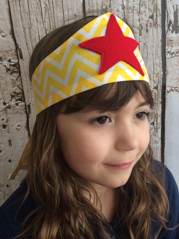Wonder Woman Inspired Superhero Fabric Headband: Yellow Chevron and Red Star  by letterbdesigns on Etsy https://www.etsy.com/listing/224548859/wonder-woman-inspired-superhero-fabric