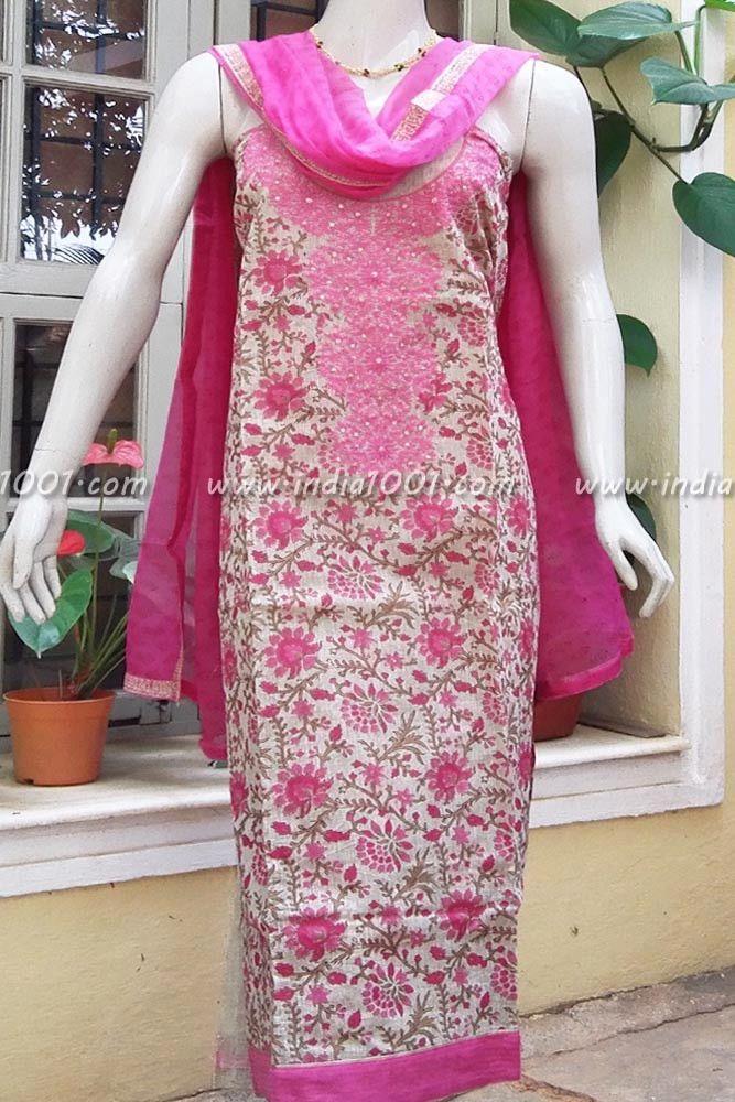 Elegant Chanderi Cotton Unstitched Suit fabric