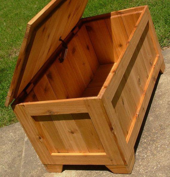 Rustic Reclaimed Cedar toy box blanket chest coffee by LuckyMargo