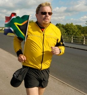 """eddie izzard is badass.  """"Starting on Tuesday 15th May 2012, I will attempt to run 27 marathons in 27 days, as a small tribute to Nelson Mandela and 27 years he spent in prison."""""""