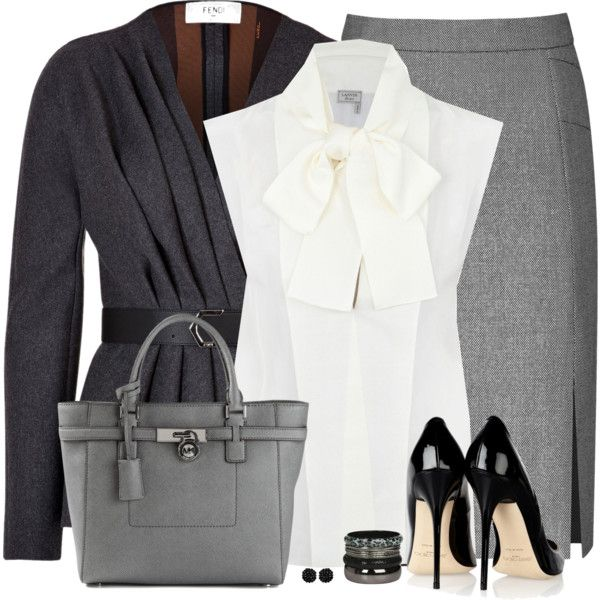 A fashion look from October 2014 featuring Lanvin blouses, Fendi jackets y Reiss skirts. Browse and shop related looks.