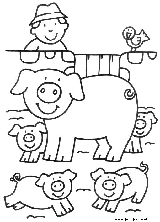 kleurplaat Boerderij - varkens
