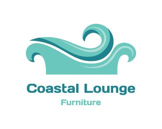 Coastal Lounge  Logo design - Blue sofa is made of waves. Related keywords: water, sea, ocean.<br />This unique logo is great for furniture store, seaside café, interior design company, home accessories store, coastal gallery, furniture designer, seaside hotel... Price $350.00