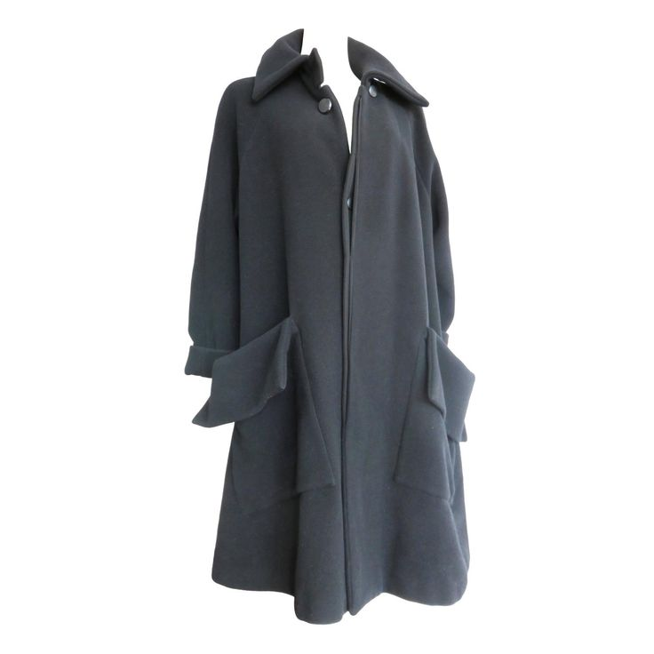 1990's YOHJI YAMAMOTO Black wool flap detail coat | From a collection of rare vintage coats and outerwear at https://www.1stdibs.com/fashion/clothing/coats-outerwear/