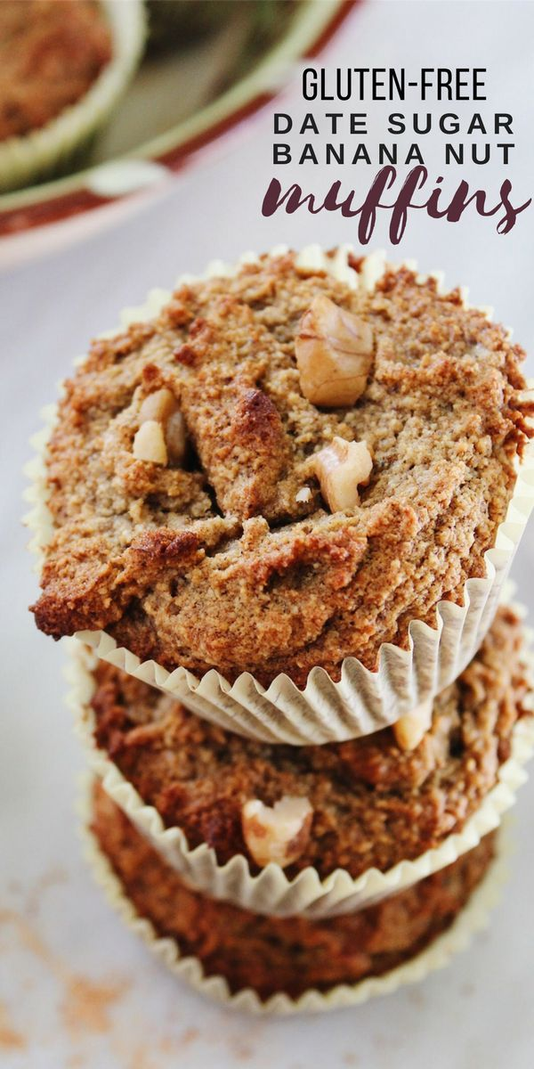 Gluten-free banana nut muffins are moist, healthy, and naturally sweetened with date sugar. Nutty walnuts add crunch and texture to these paleo, dairy-free muffins.