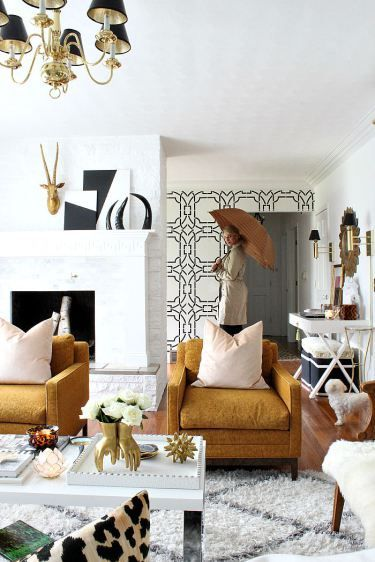 Ultra glam and seventies inspired living room from Bliss at Home. See the full tour and story here.