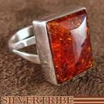 Navajo Indian Jewelry Silver Amber Ring