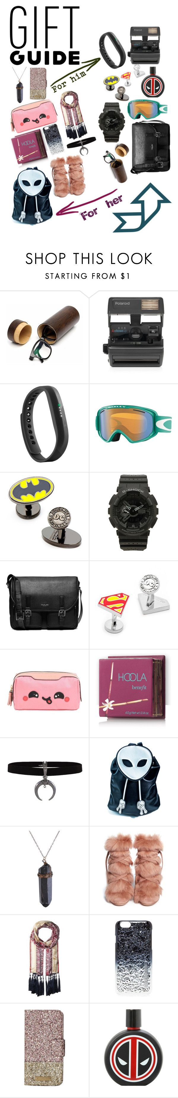 """""""Gifts for her/for him"""" by olesyaanna ❤ liked on Polyvore featuring Impossible, Fitbit, Oakley, Cufflinks, Inc., G-Shock, Michael Kors, Anya Hindmarch, Hoola, Current Mood and Gianvito Rossi"""