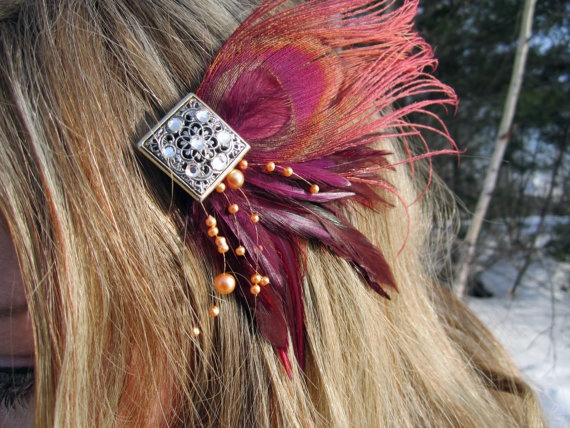 bloomer Burgundy Gold Rust Feather Fascinator by SHOWYOURbloomers, $40.00