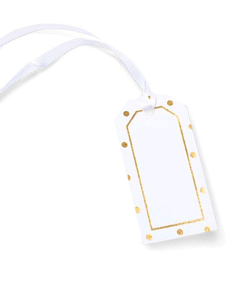 8 etichette bianche con pois oro e nastrino su VegaooParty, negozio di articoli per feste. Scopri il maggior catalogo di addobbi e decorazioni per feste del web,  sempre al miglior prezzo!