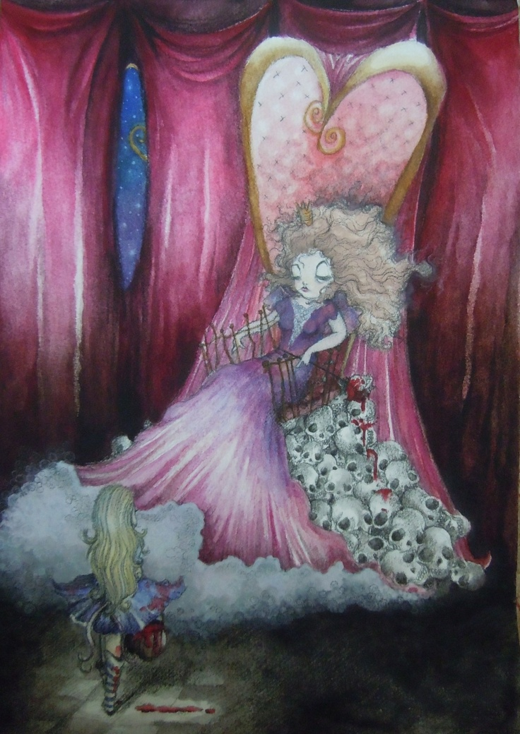 Alice and the red queen, charcoal pencil, water colour and I think a little bit of pastel too :)