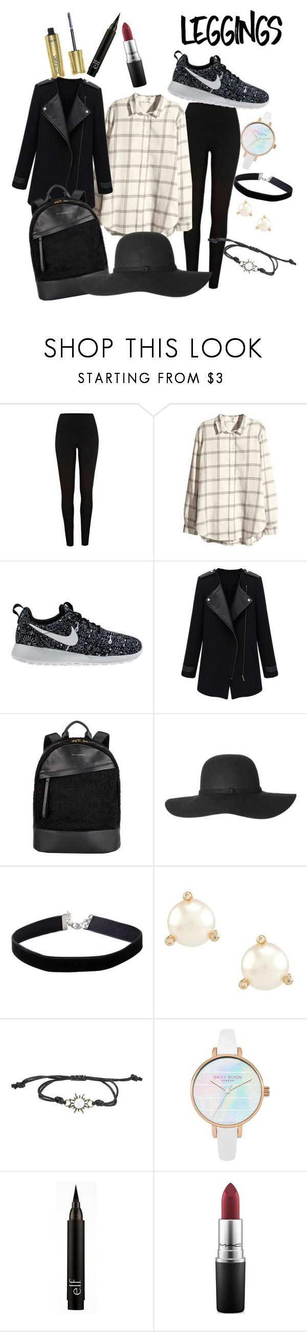 """Monochrome Legging Look"" by hollynagle on Polyvore featuring River Island, H&M, NIKE, Want Les Essentiels de la Vie, Miss Selfridge, Kate Spade, MAC Cosmetics, tarte, Leggings and WardrobeStaples"