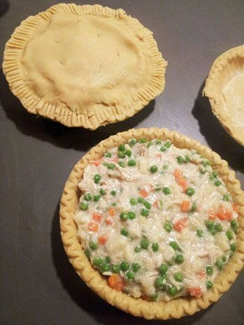 Homemade Chicken pie: 2 cups cooked shredded chicken, Gravy, 2 Pie Crust, Frozen Hashbrowns (diced) 16 oz. bag, Frozen Peas & Carrots combination 12 oz. bag, Onion, 1/4 cup diced small, salt & pepper to taste frugality, frugal ideas #frugal frugal