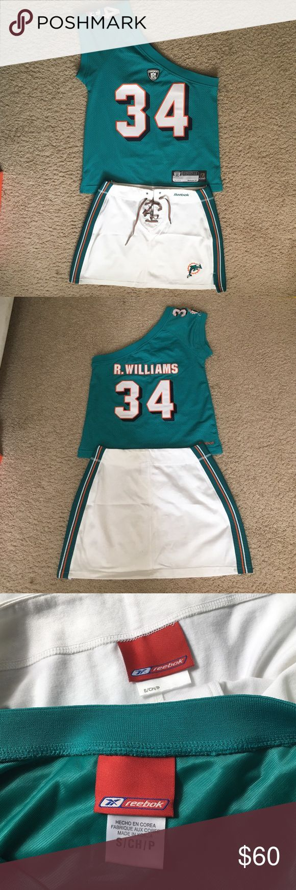 Jersey & mini skirt outfit Ricky Williams lady jersey, 88% Polyester and 12% spandex. Mini skirt 65% cotton, 35 % polyester length 14 inches from waist down. Hardly worn. Reebok Other