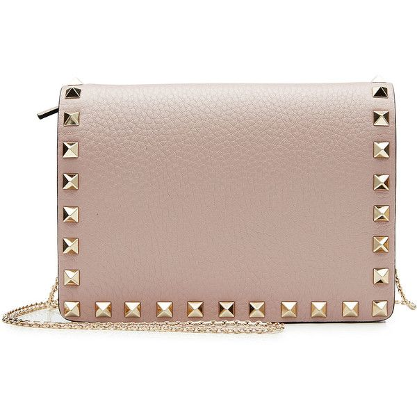 Valentino Rockstud Leather Shoulder Bag (1 215 AUD) ❤ liked on Polyvore featuring bags, handbags, shoulder bags, beige, brown shoulder bag, genuine leather purse, leather purses, leather shoulder bag and brown purse