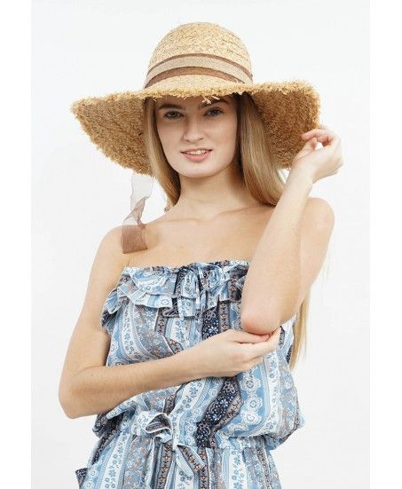 STRAW HAT WITH ORGANDY RIBBON - MINEOLA Online Shopping Fashion Indonesia