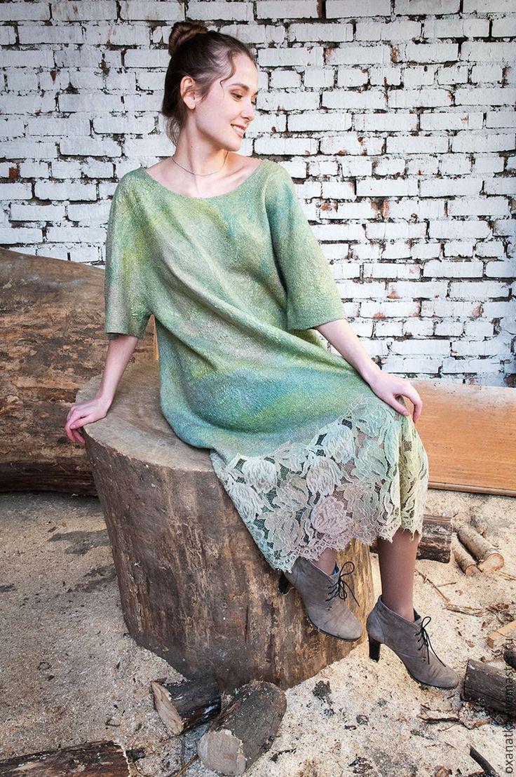 Купить Валяное платье Весне дорогу! - салатовый, авторская ручная работа, Валяние, валяное платье