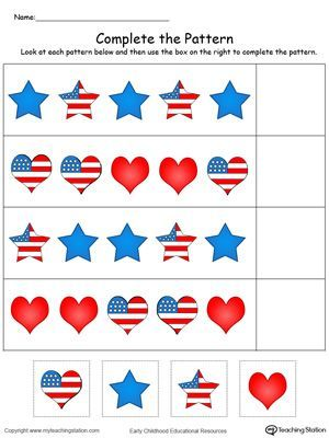 free patriotic complete the pattern in color worksheet complete the pattern