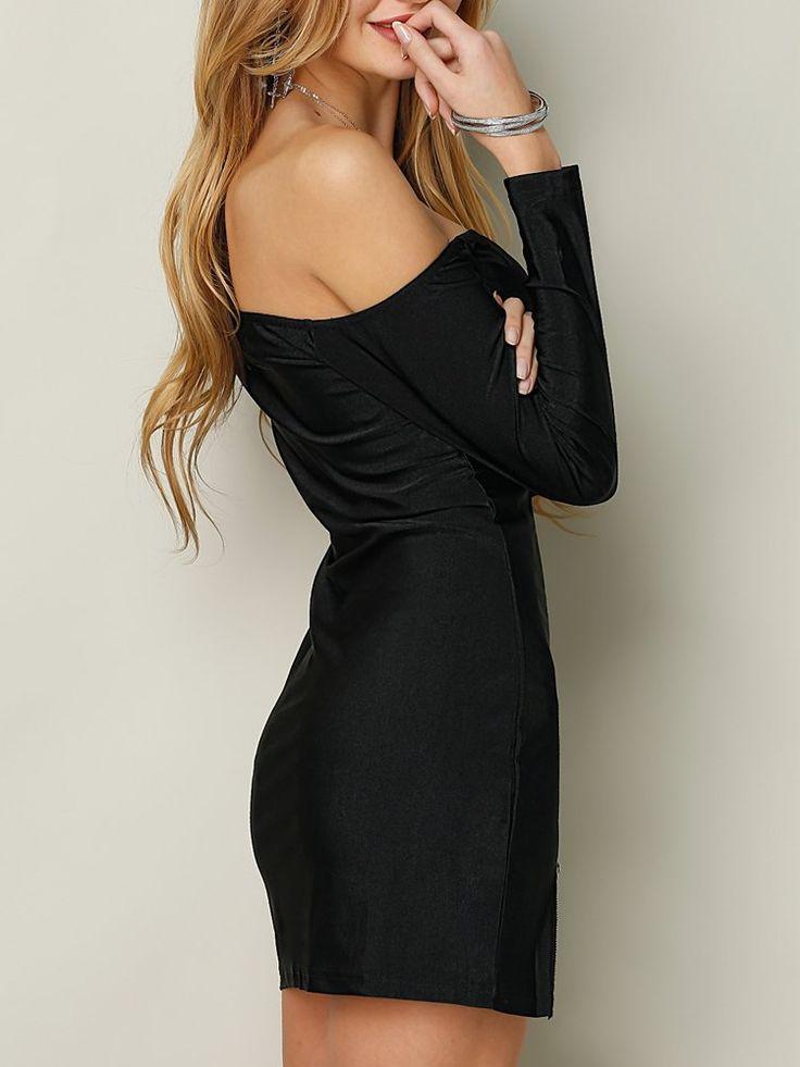 Sexy Off-shoulder Side Split Long Sleeves Women Mini Dress