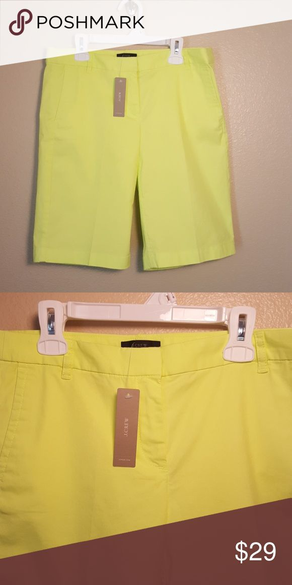 J. Crew neon yellow shorts NWT sz 2 These neon yellow J crew brand shorts are size 2. They are brand new with tags. Two front pockets to back slit pockets. Shorts Bermudas