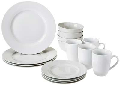 6. AmazonBasics 16-Piece Dinnerware Set