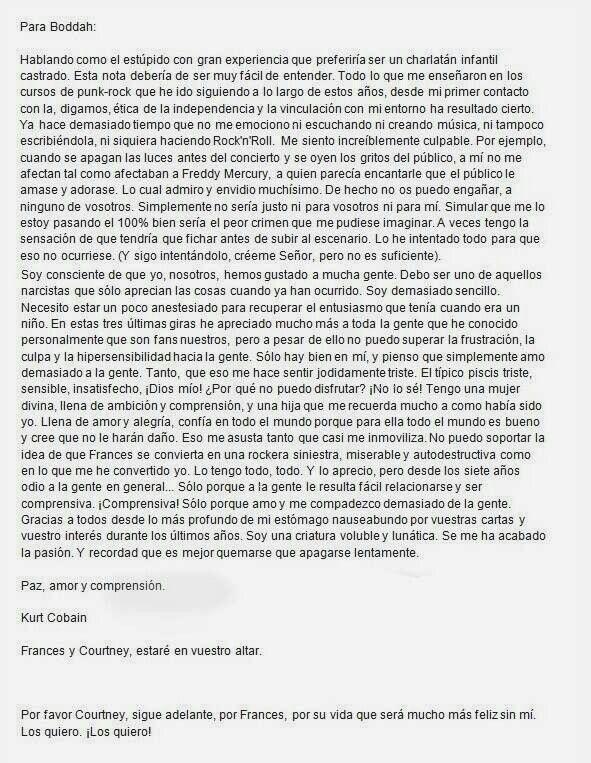 Traducción de la carta de suicidio de Kurt Cobian, vale la pena leerla.