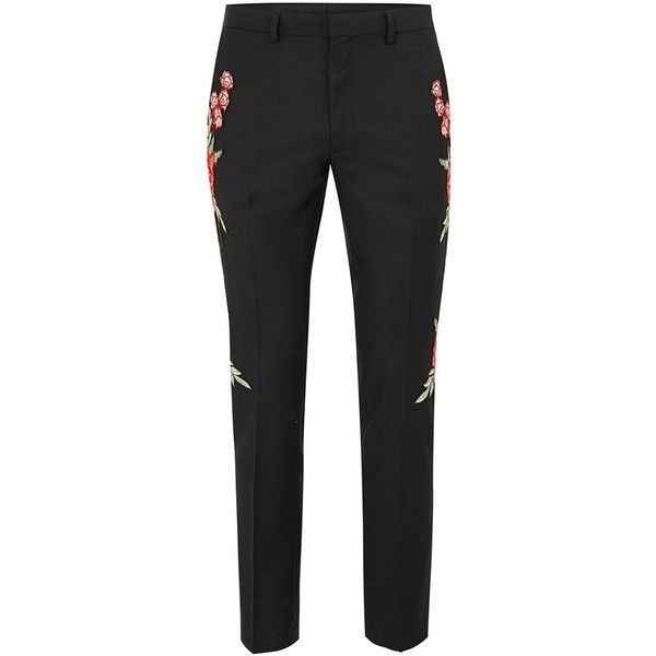 TOPMAN Black Rose Embroidered Skinny Fit Suit Trousers (275 MYR) ❤ liked on Polyvore featuring men's fashion, men's clothing, men's pants, men's dress pants, black, mens zip off pants, mens zipper pants, mens skinny suit pants, mens super skinny dress pants and mens skinny fit dress pants