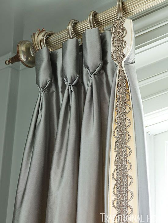 Pretty detail on the first pleat = incorporating the braid.  Goblet pleat silk panels with trim