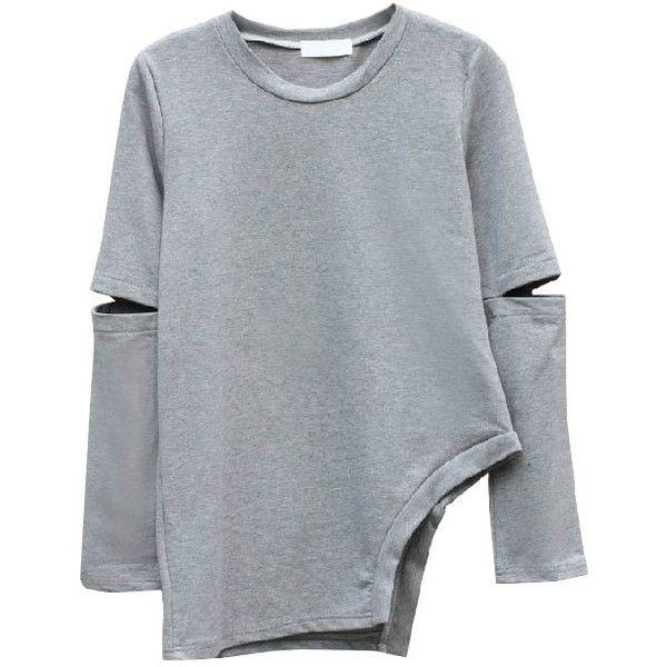 Irregular Dew Arm Sweatshirt (1.045 RUB) ❤ liked on Polyvore featuring tops, hoodies, sweatshirts, sweaters, shirts, sweatshirt, extra long sleeve shirts, round neck shirt, round neck top and long sleeve cotton shirts