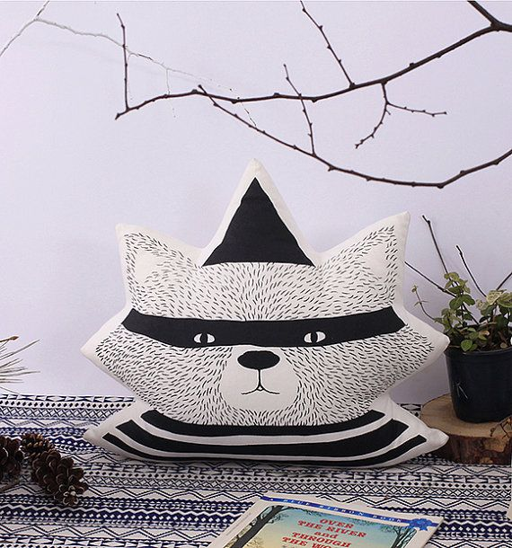 Handmade Deli Master Raccoon Pillow by DeliTime on Etsy