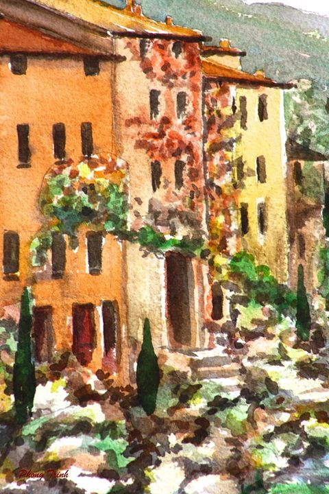 Lagrasse (13) - Phong Trinh Watercolor. More Fine Art Print Available at http://www.artpal.com/phongtrinh/
