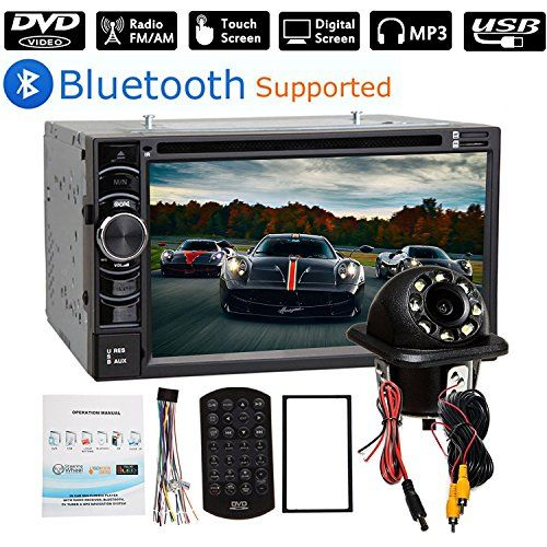 "2 Din Car Stereo Bluetooth 6.2"" Touch Screen with Backup Camera Rear View, USB/SD/AM/FM Audio Video Player + Steering Wheel Control. For product info go to:  https://www.caraccessoriesonlinemarket.com/2-din-car-stereo-bluetooth-6-2-touch-screen-with-backup-camera-rear-view-usb-sd-am-fm-audio-video-player-steering-wheel-control/"